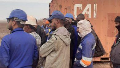 صورة ازويرات: عمال اسنيم ينظمون وقفة احتجاجية على ضعف إجراءات السلامة