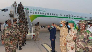 صورة وحدة من الجيش الموريتاني تغادر للمشاركة في حفظ السلم بوسط أفريقيا